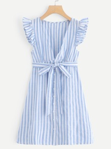 Tie Waist Deep V Neckline Striped Dress