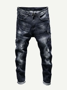 Men Letter Print Destroyed Jeans