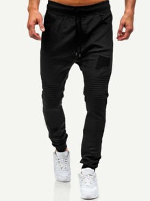 Men Ruched Plain Drawstring Joggers