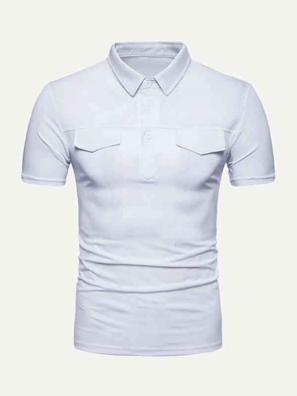 a8219e0254e2 A Tinta Unica Bianco Polo da uomo   SHEIN