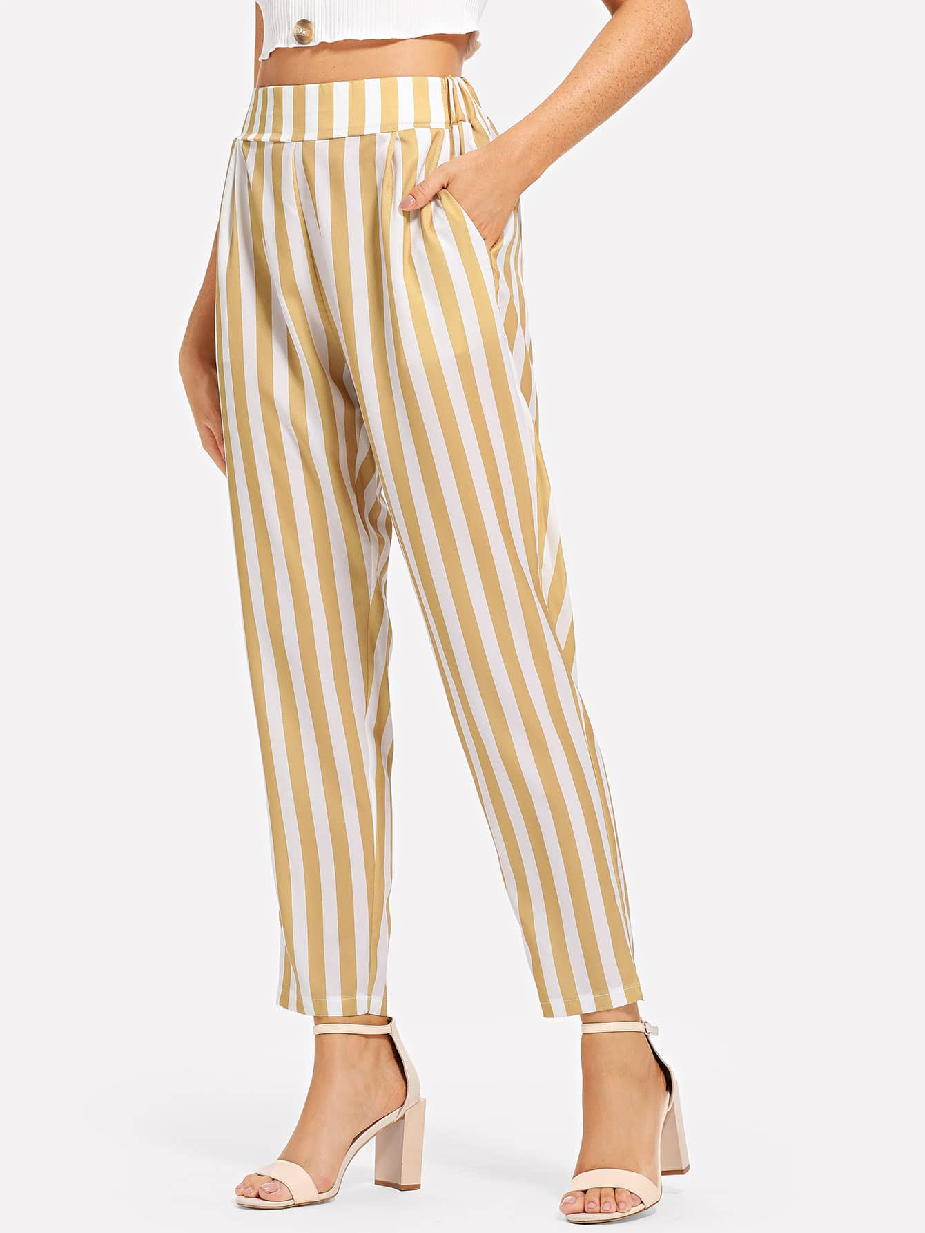 e680f9a90f6 Pocket Side Elastic Waist Striped Pants EmmaCloth-Women Fast ...