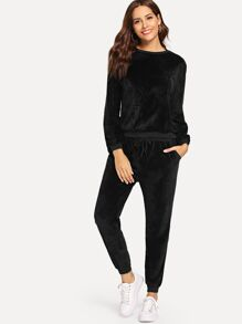 Velvet Solid Top With Drawstring Waist Pants