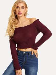 Solid Off Shoulder Frill Trim Sweater