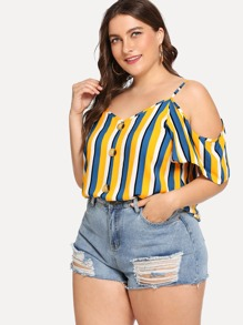 Plus Striped Single Breasted Blouse