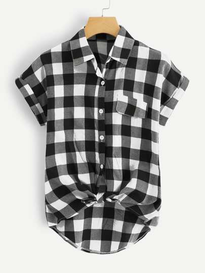 Buffalo Plaid Rolled Cuff Knot Hem Shirt
