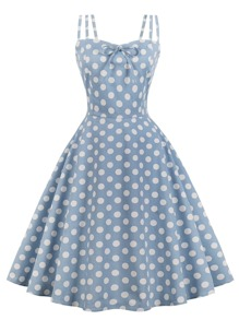 Polka Dot Knot Front Zip Back Flare Dress