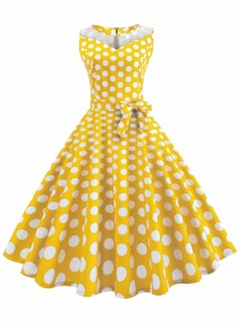 Polka Dot Zip Back Belted Flare Dress
