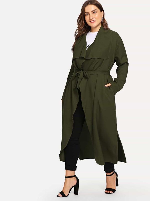 3a85864db5 Cheap Plus Waterfall Collar Solid Coat for sale Australia | SHEIN