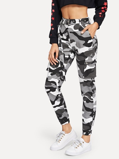 Camo Print Ring Detail Belted Utility Pants