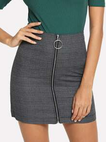 Zip Up Front Checked Skirt
