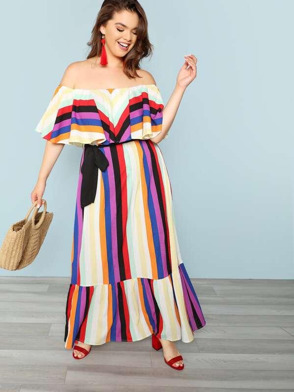 Plus Flounce Layered Neck Striped Dress | SHEIN