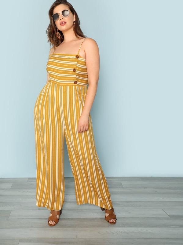 90bad3c944c8 Cheap Plus Button Detail Wide Leg Striped Cami Jumpsuit for sale Australia