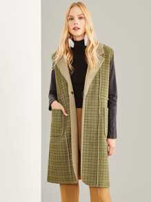 Fleece Lined Sleeveless Plaid Coat