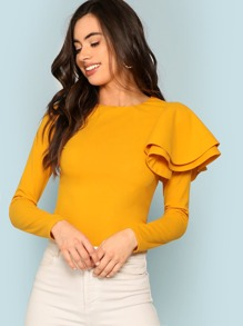 One Shoulder Tiered Ruffle Tee