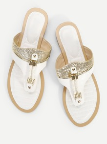 Glitter Decorated Flat Slippers