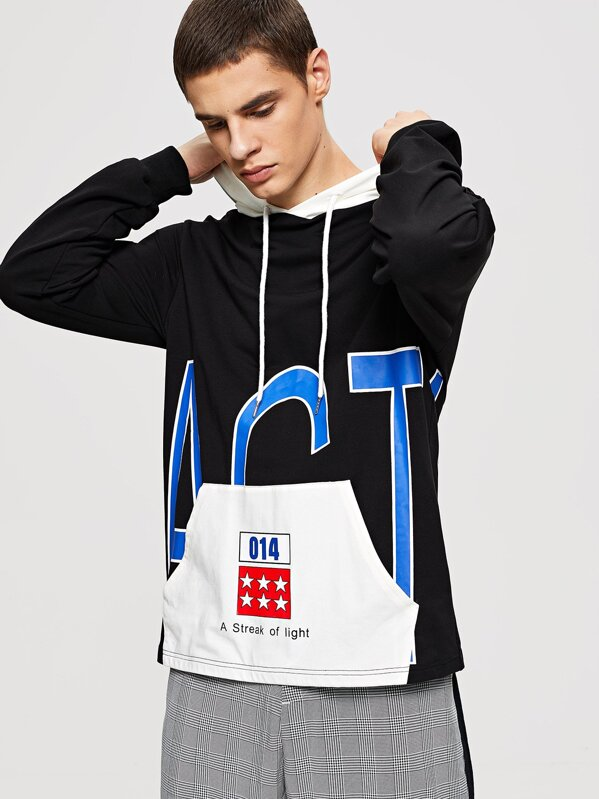 2c0f56158b Men Mixed Print Drawstring Hoodie Sweatshirt