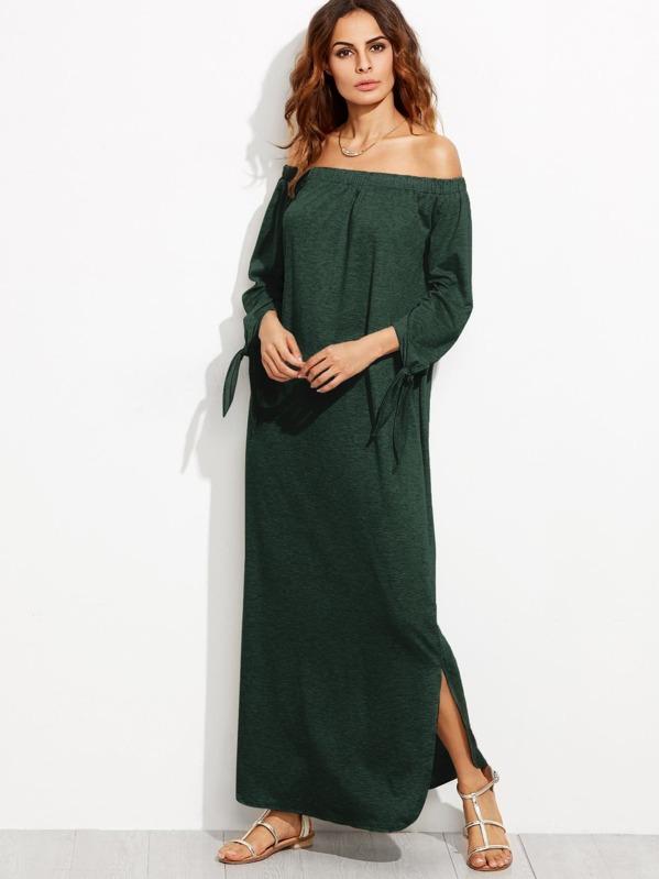 1c42494dd4 Bardot Tie Sleeve Slit Maxi Dress   SHEIN UK