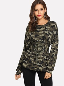 Lace-Up Waist Camo Print Sweatshirt