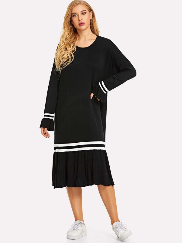 e33dca9436 Contrast Stripe Ruffle Hem Knit Dress | SHEIN IN