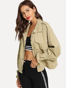Solid Pocket Zip Up Jacket