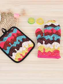 Cartoon Print Oven Glove 1pc & 1pc Pad