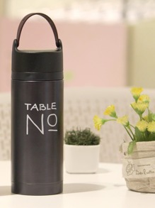 Letter Print Thermos Cup With Rope 350ml