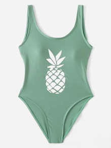 Low Back Pineapple Print Swimsuit