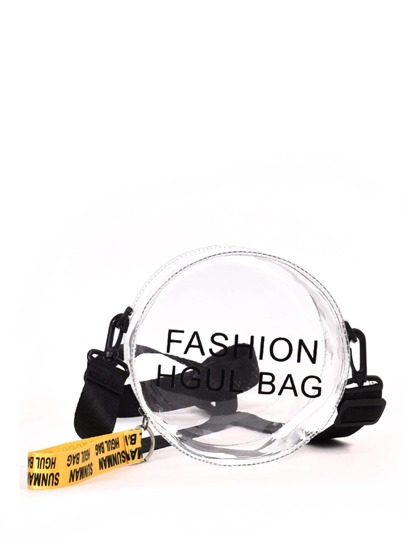 Slogan Print Round Shaped Bag