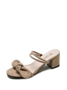 Bow Decor Suede Sandals