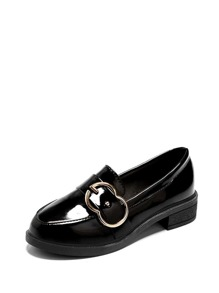 Buckle Decor Patent Leather Loafers
