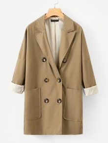 Solid Double Breasted Longline Coat