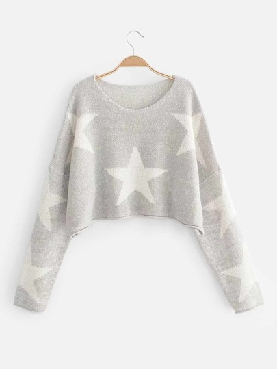 Drop Shoulder Star Pattern Crop Sweater