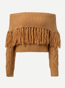 Fringe Trim Foldover Sweater