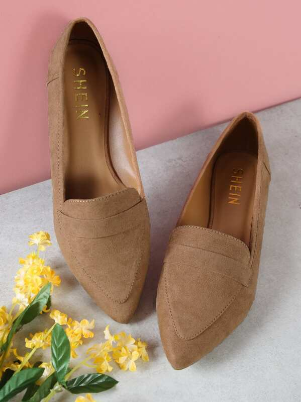 fa20de28ab1 Vegan Suede Pointy Toe Flat Loafer Shoes
