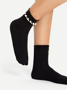 Faux Pearl Decorated Socks