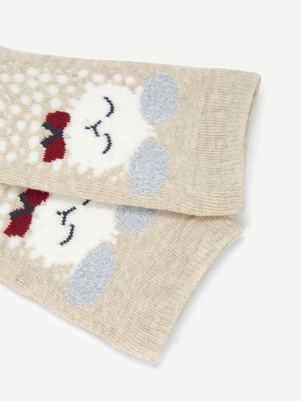 Calcetines de niñas con estampado de corazón y conejo-Spanish SheIn ...