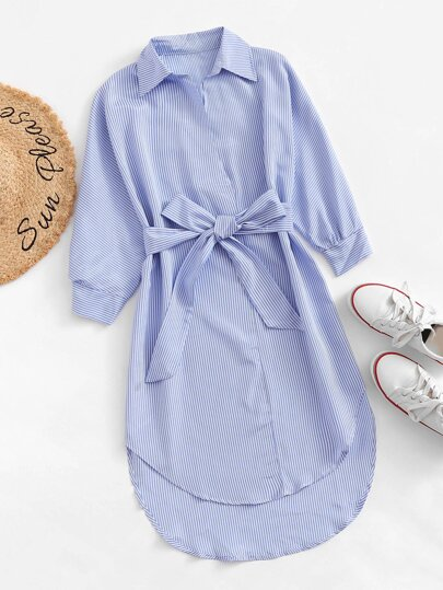 Striped Dip Hem Belted Dress