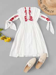 Floral Embroidered Knot Dress