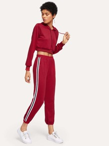 Drawstring Hoodie Top With Striped Side Pants