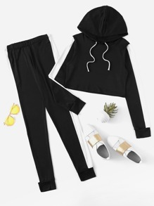 Contrast Panel Drawstring Hooded Top With Pants