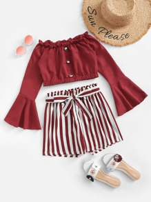 Frill Trim Fluted Sleeve Top With Shorts