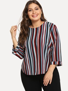 Plus Rainbow Striped Blouse