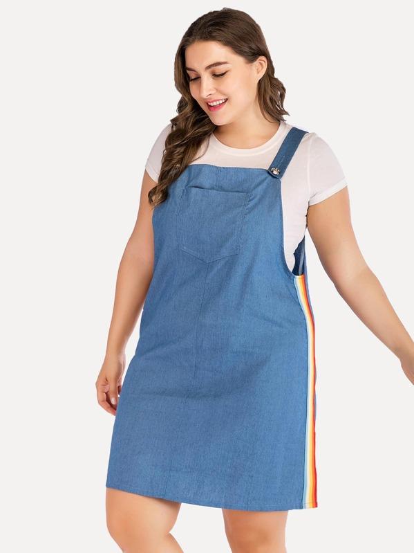 cca369d258c Plus Rainbow Striped Tape Side Denim Dress