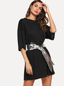 Solid Round Neck Dress