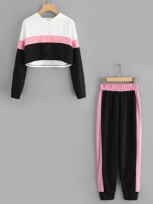 Color Block Hooded Top With Pant