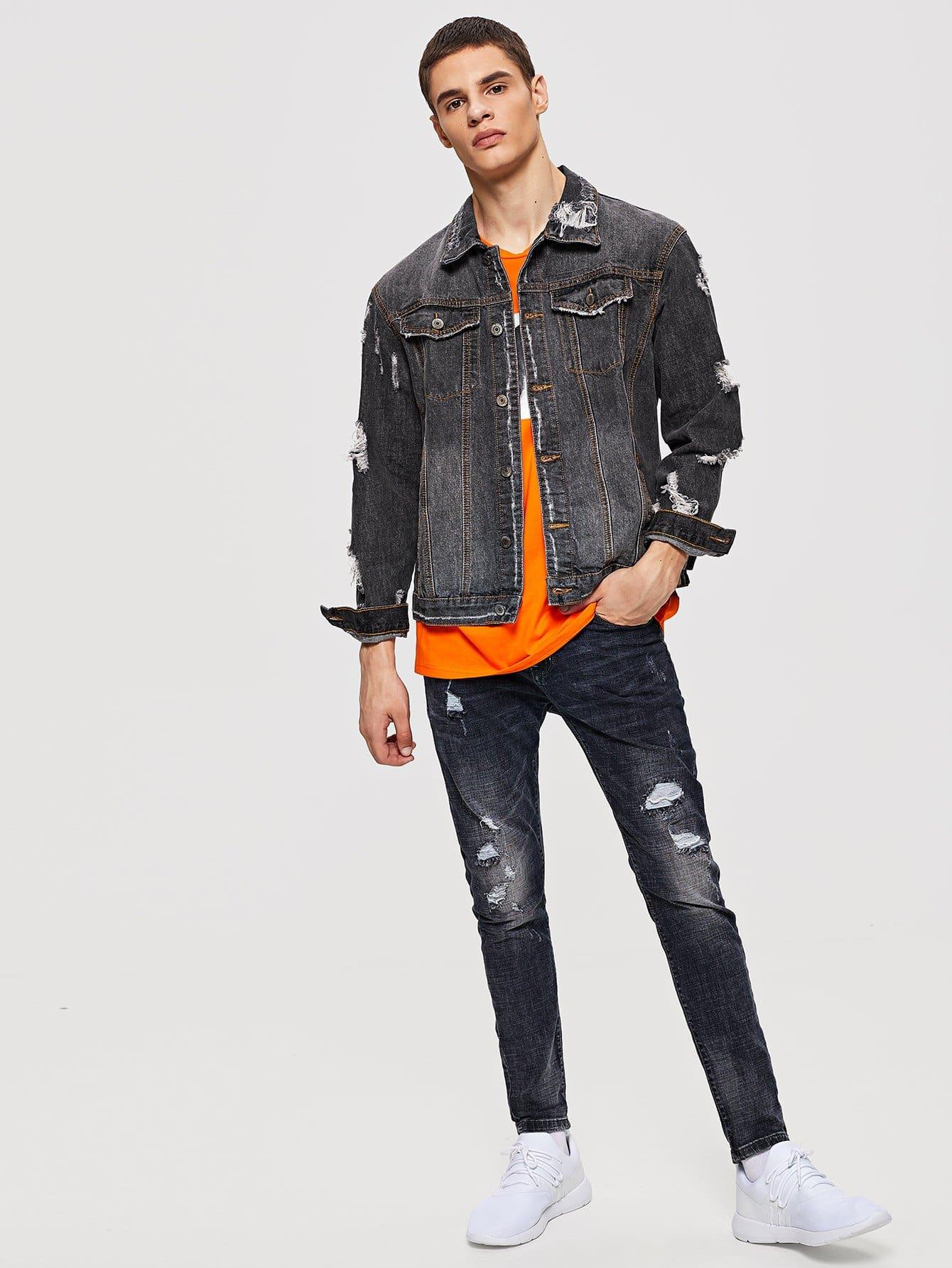 m nner zerrissene jeans jacke german shein sheinside. Black Bedroom Furniture Sets. Home Design Ideas