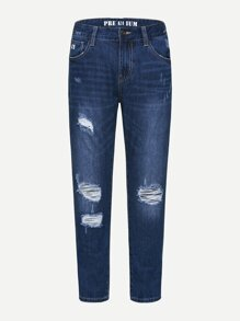 Men Destroyed Straight Leg Jeans
