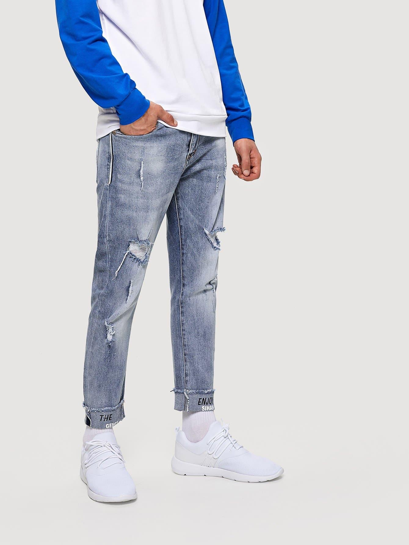 m nner zerrissene jeans mit buchstaben muster german shein sheinside. Black Bedroom Furniture Sets. Home Design Ideas