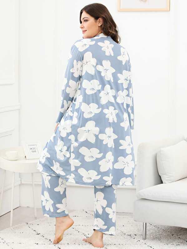 26bf25b768f9 Plus Floral Print Cami Pajama Set With Robe   SHEIN