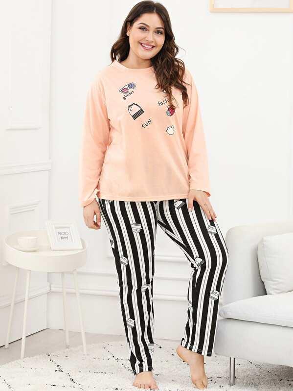 69244a4af3 Plus Cartoon Print Striped Pajama Set | SHEIN